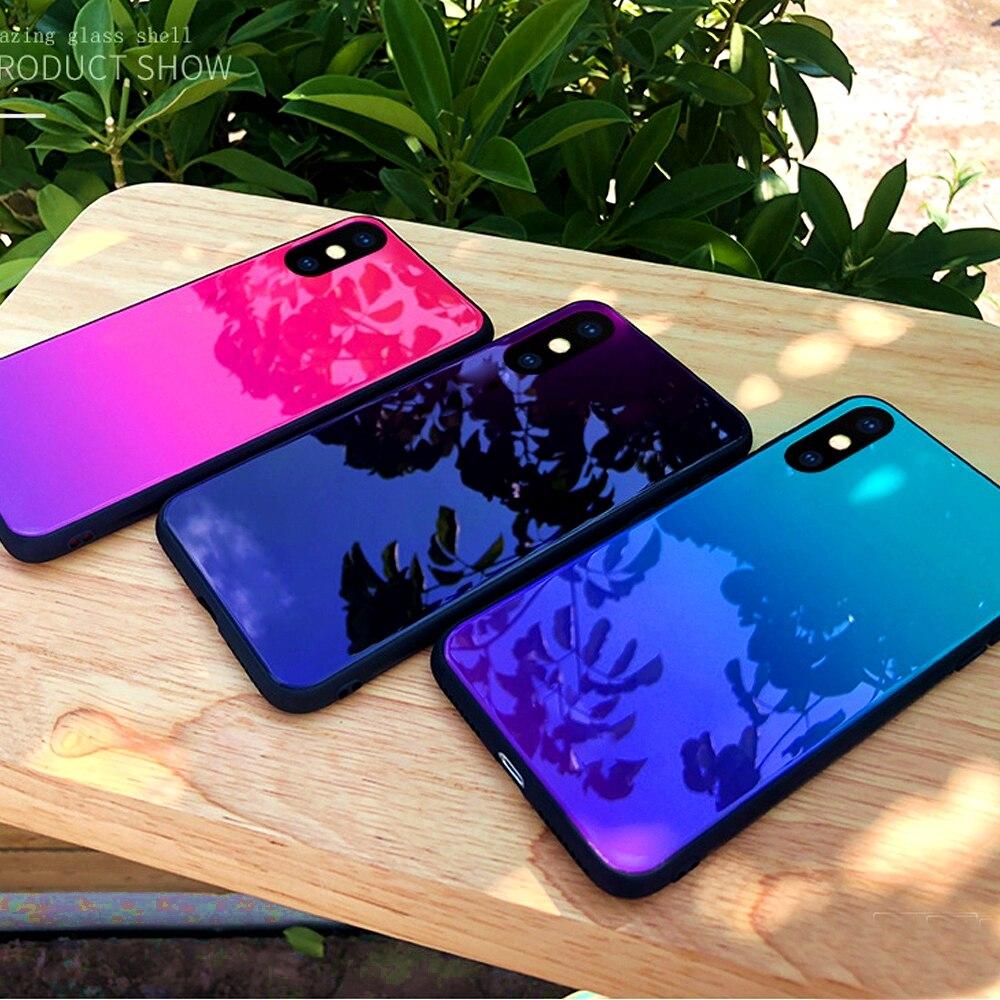 OLLIVAN For Xiaomi Redmi Note 5 Case Gradient Tempered Glass Mirror Case Silicone Soft Cover For Huawei Mate 20 Pro Lite Redmi 6