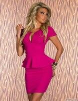 Hot 2017 Mode Vrouwen/Dames V-hals Hoge Taille Potlood Bodycon Coquilles Sexy Jurk Rok Mini Jurk Clubwear