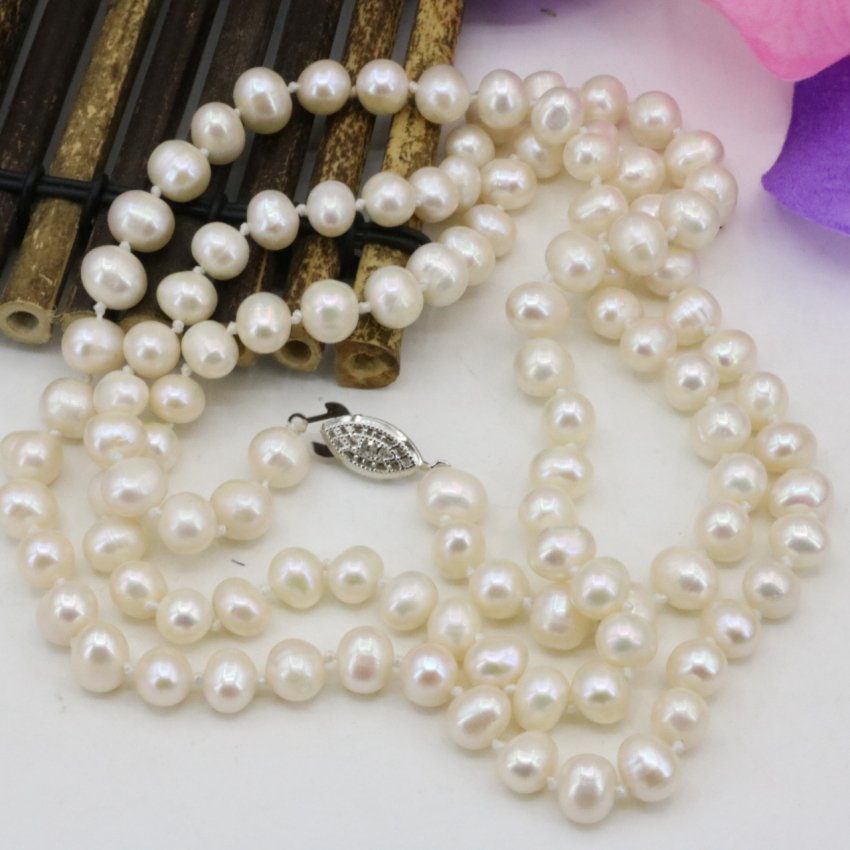 Fashion 7-8mm pearl natural pearls white beads necklace for women long chain charms jewelry making high grade gifts 36inch B3239 free shipping imitation pearls chain flatback resin material half pearls chain many styles to choose one roll per lot