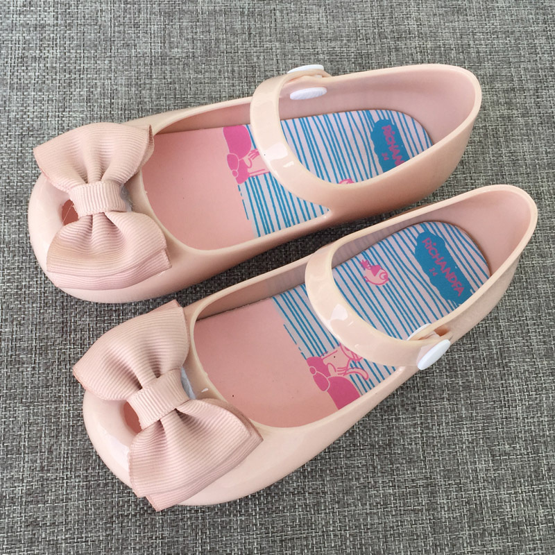 Mini Melissa Baotou Jelly Cold Cloth Flower Girl Cool Slipper Bow Snap Fastener Princess Single Shoe Baby Spring Summer Sandals