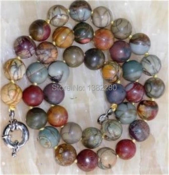 ! Fashion jewelry DIY handmade beads 10mm Multicolor Picasso chalcedony Necklace 18