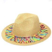 2019 夏の女性ナチュラルワイドつばバリラフィアわら帽子フリンジ女性無地大ビーチ太陽キャップわらキャップ帽子