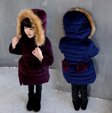 fcc463edc 2018 Fall Winter Little Girls Fashion Puffer Coat With Fur Hat And ...