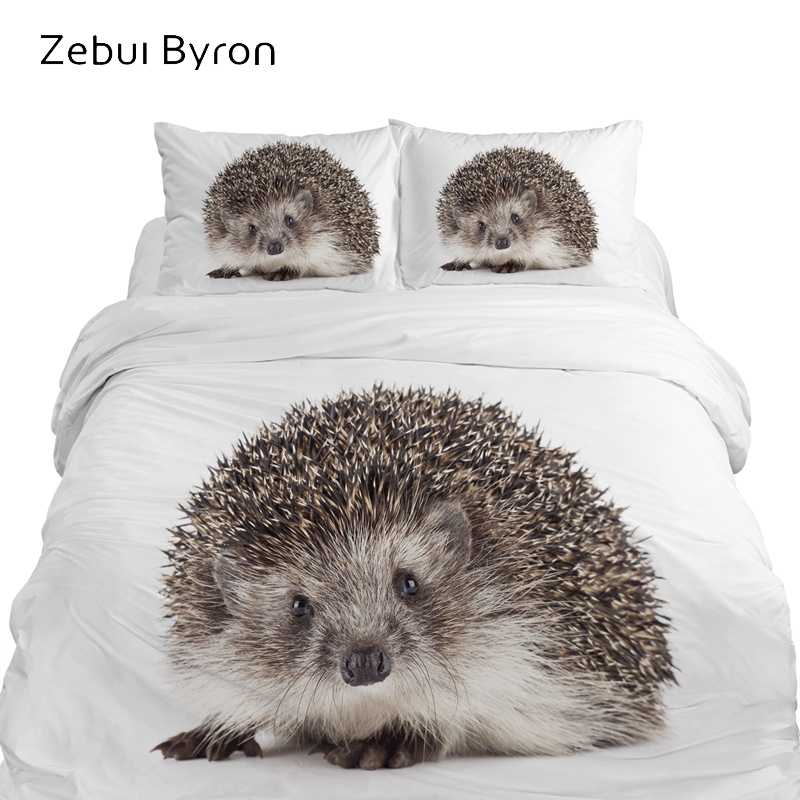 3D Luxury Bedding Set King/Eruo Size,Custom Print Comforter/Quilt/Duvet Cover Set,Kids Baby Child Bed Set Cute Animal Hedgehog