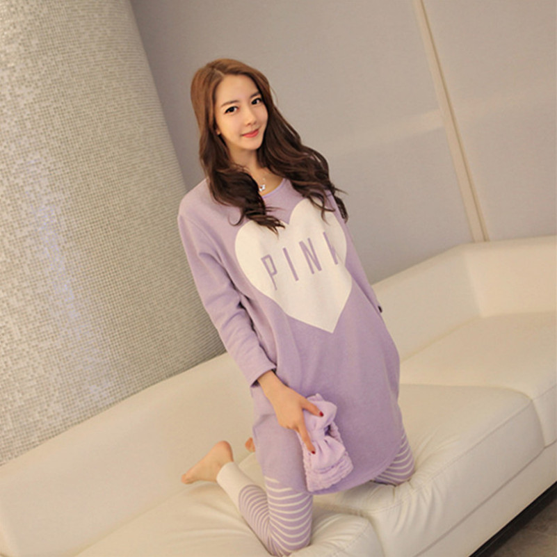 New Winter Women Sleep Fashion Pajama Nightgown Long Sleeve Lounge Homewear