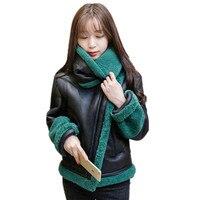 Women Basic Coats 2016 Women Lamd Wool Jacket Parka Black Leather Winter Jacket Women Wadded Padded
