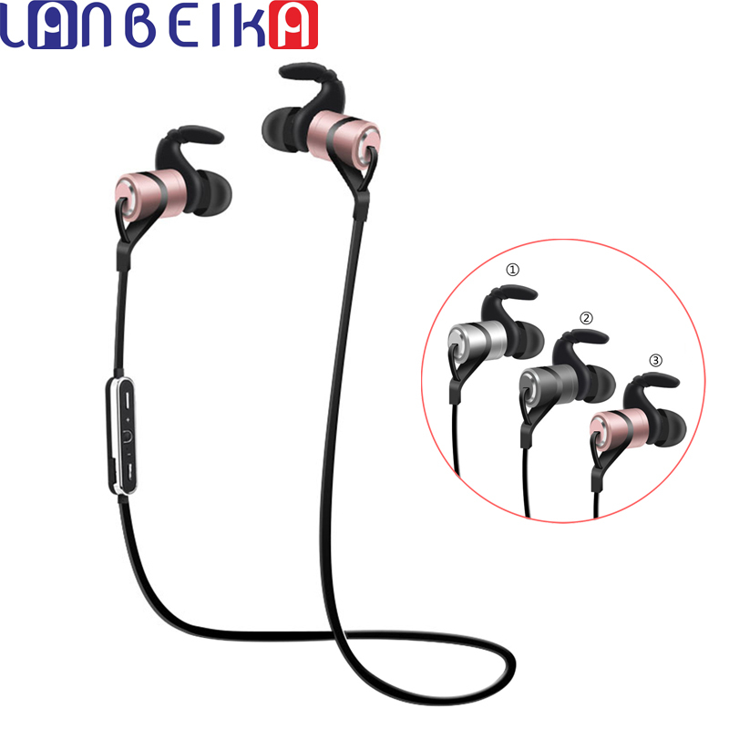 LANBEIKA Sports Bluetooth Headphone Wireless Bluetooth Earphone With Mic Metal Noise Cancelling Headset For iPhone Android Phone 2017 scomas i7 mini bluetooth earbud wireless invisible headphones headset with mic stereo bluetooth earphone for iphone android