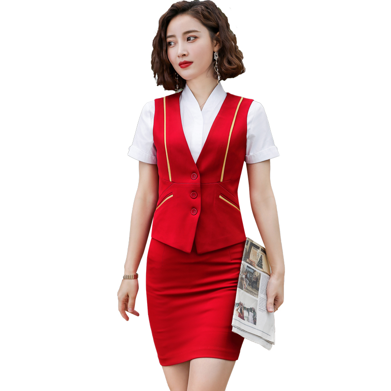 Novelty Red Formal Uniform Styles Business Suits With 2 Piece Sets Tops And Skirt Ladies Vest Coat & Waistcoat OL Styles Blazers