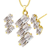New Luxury Gold Color Crystal Pendants Necklace Earrings Set For Women Party / Wedding Fashion Jewelry Set gift S20120