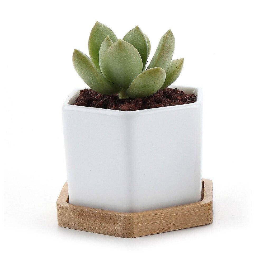 Set of 2 Hexagon Ceramic Flower Pot for Cactus Succulent Plants Bamboo Tray Planter Home Garden Decoration (2 pots + 2 trays)