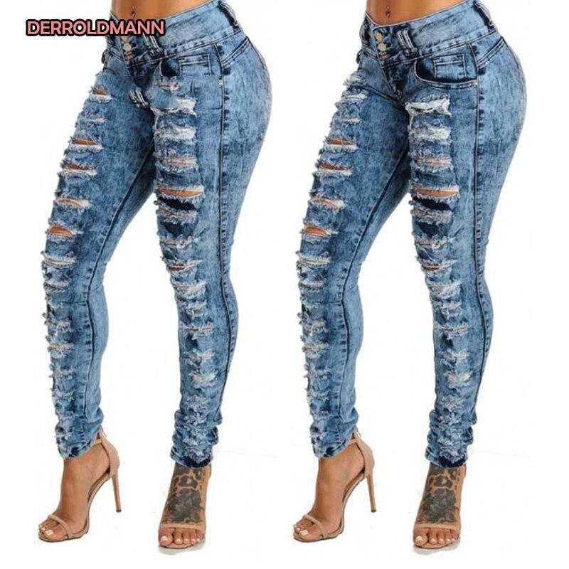 Women Broken Jeans Torn Pants Ripped Denim High Waist Cotton Pants With Pocket Button Boyfriend Jeans For Women