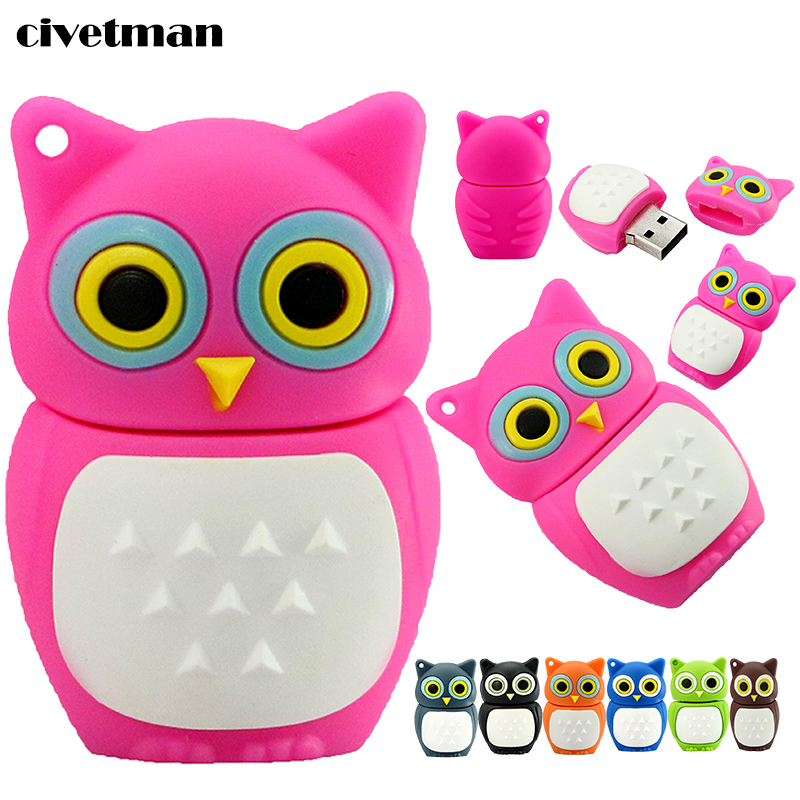 100% Real Capacity Pen Drive Cartoon Owl USB Flash Drive 4gb 8gb 16gb 32gb Flash Drive Disk Memory Stick 7 color Free Shipping