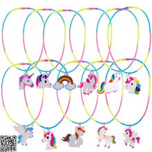 11pcs Rainbow Unicorn Pendant Necklaces Silicone Rubber Necklace Birthday Party Supply Kids Chain Jewelry Accessories