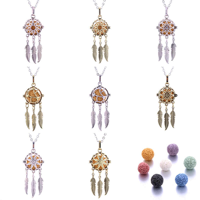 8 styles Dreamcatcher Aromatherapy Necklace Perfume Diffuser Hollow Pendant Essential Oil Necklace jewelry Send volcanic stone