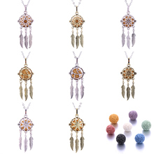 8 styles Dreamcatcher Aromatherapy Necklace Perfume Diffuser Hollow Pendant Essential Oil jewelry Send volcanic stone
