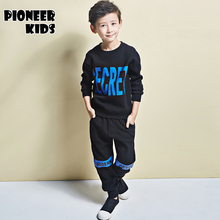 Pioneer Kids 2016 Boys Clothing Set Autumn Winter 2 Piece Sets Hooded Coat Suits Fall Cotton