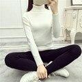 2017 Otoño y El invierno de las nuevas mujeres Coreanas camisa tocando fondo suéter de cuello blanco de las mujeres torcedura espesar Delgado era delgada suéter