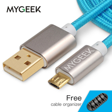MyGeek Nylon Micro USB Cable for Samsung HTC Huawei Xiaomi Android 3m 2m Fast Charge wire Microusb Mini USB Mobile Phone Cables(China)