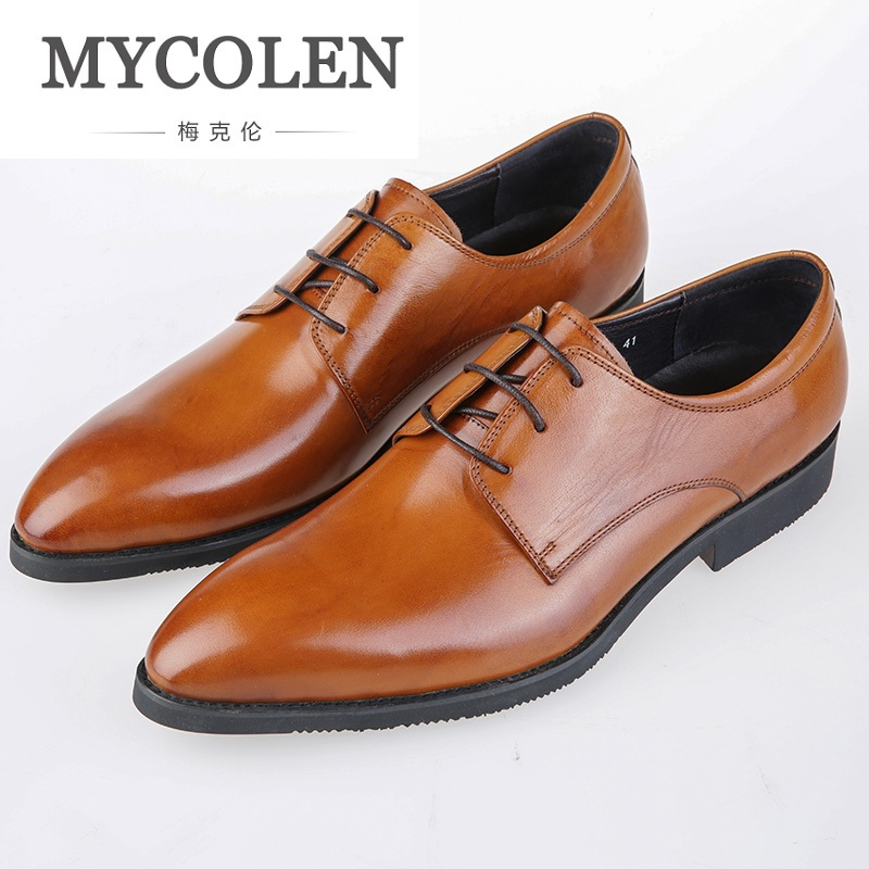 MYCOLEN Men Leather Elegant Business Leather Shoes Men's Luxury Black Brown Business Dress Gentlemen Genuine Leather Men Shoes ремни lee ремень gentlemen
