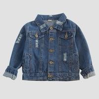 Children's clothing for boys and girls Long sleeve fashion short coat Vintage old Broken hole cotton denim jacket