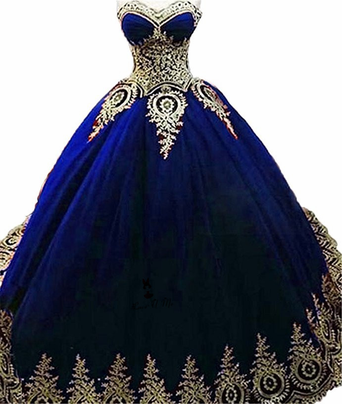 Vestidos de 15 azul con dorado