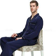 Mens Pijama de Cetim de Seda Conjunto de Pijama Pijamas Set Pijamas Loungewear S, M, L, XL, XXL, XXXL, 4XL Plus Size _ _ Grande e alto