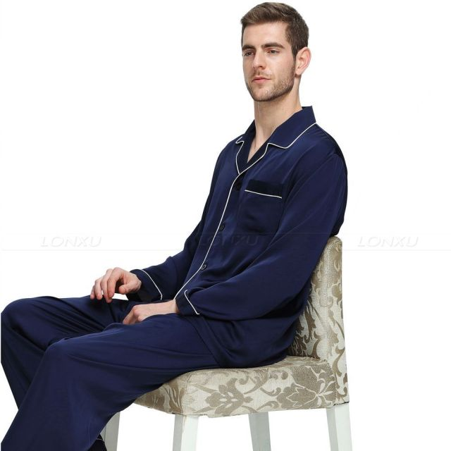 cf0d3f5049c4f Mens Silk Satin Pajamas Set Pajama Pyjamas Set Sleepwear Loungewear ...