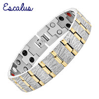 2015 Men 4in1 36pcs Magnet Negative Ions Germanium Far Infar Red 2 Tone Stainless Steel Bracelet