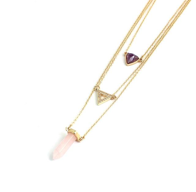 Фото chicvie треугольные многослойные ожерелья и подвески из натурального цена