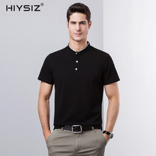 HIYSIZ New T-Shirt 2019 Streetwear Causal Hot Fashion Trend Tee Solid Henry Collar Top Brand T Shirt For Spring And Summer ST200