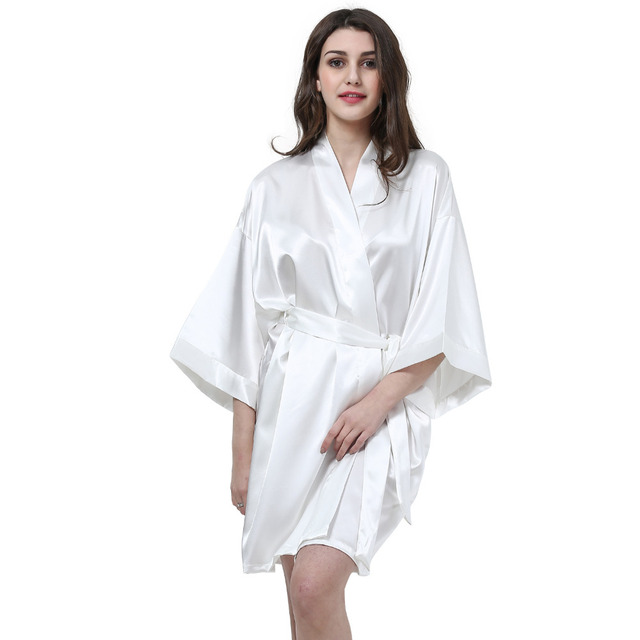 d7eeb36f05 Silk Satin Wedding Bride Bridesmaid Robe Solid Bathrobe Short Kimono Robe  Night Robe Bath Robe Fashion