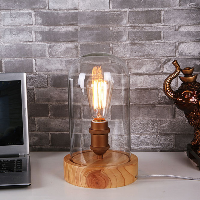 Art Deco wooden Desk lamps clear glass lampshade E27 base bulb 40W table lights wood light reading lamps free shipping vintage handmade art retro wood tripod table lamps desk light searchlight alumnum metal copper lampshade nordic design tll 4
