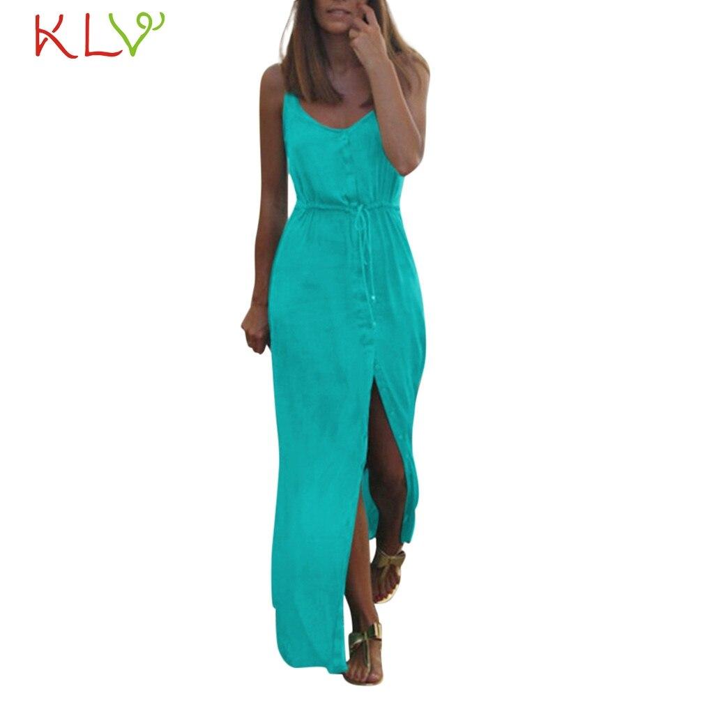 Dress Women Summer Sexy Casual Bandage Split Beach Party Long Maxi Dress Club Robe Femme Zomerjurk Dames 2019 Vestidos Chic 19A3