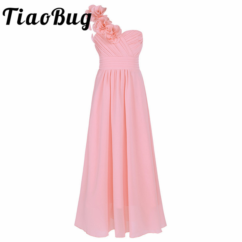 Dress Flower Wedding-Bridesmaid One-Shoulder Chiffon Party Formal And with Kids Girls title=