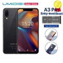 UMIDIGI A3 Pro Global Band Android 8,1 5,7 «19:9 полноэкранный мобильный телефон 3 ГБ + 32 ГБ 12 Мп + 5 Мп разблокировка лица Двойной смартфон 4G