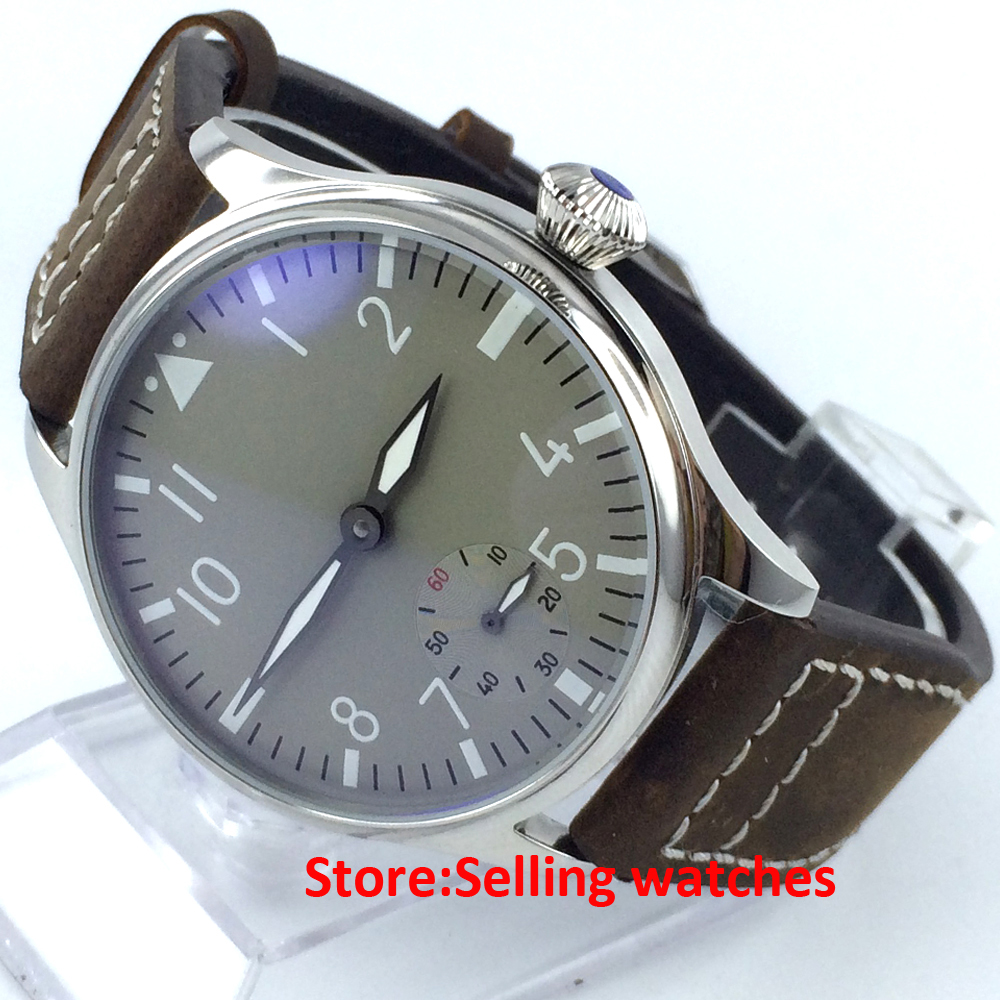 44mm classic parnis gray Dial luminous 6498 movement hand winding mens watch 44mm parnis black dial luminous marks seagull 6498 hand winding mens watch