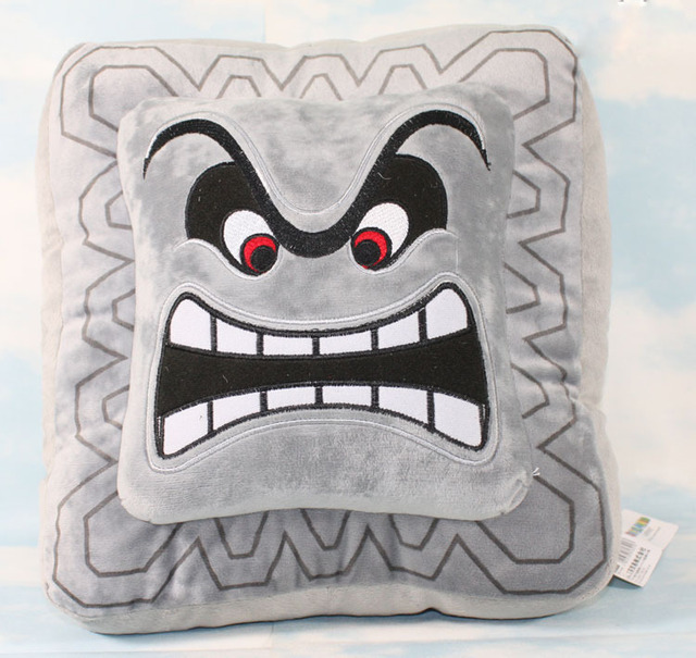 "Retail  Free Shipping Super Mario Bros Grey Brick Plush Toy Soft Stuffed Doll 12""33CM SMPD146"
