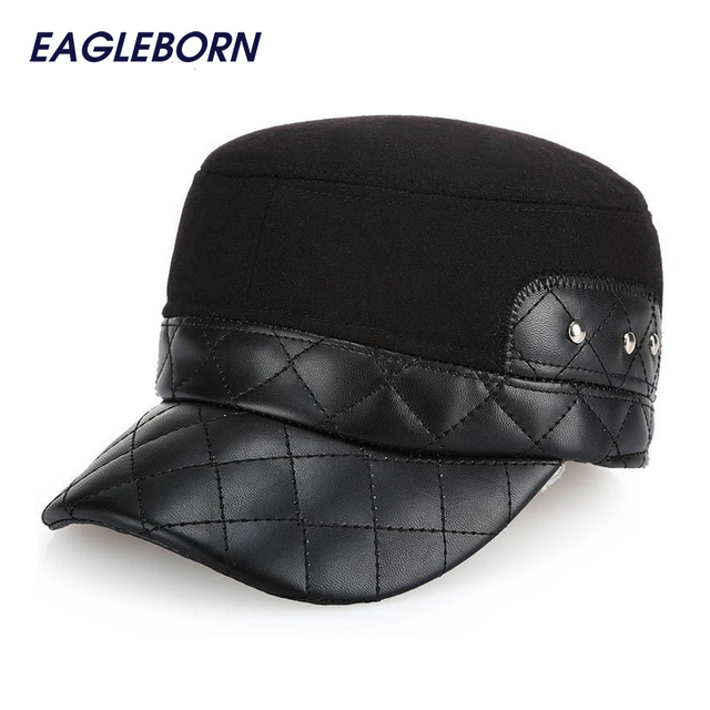 Flat Leather Hat Middle Aged Mens Caps Keep Warm Stylish Hats With Ear Flaps  Brand New 8a66fcea2cfb