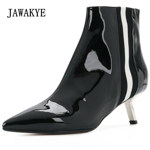 334bc6f4e4f 2018 Chic Real Leather Ankle Boots Woman Pointed Toe Strange High Heel  Boots Woman Fashion Martin Boots