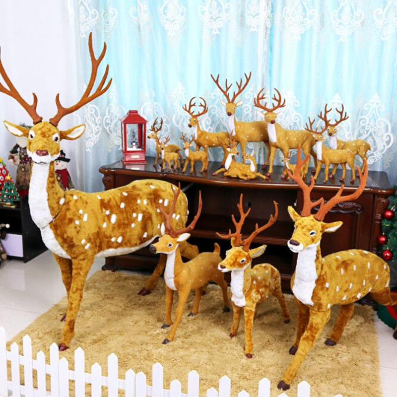 New Christmas Elk Fluff Real Life Deer Plum Deer Christmas Tree Decorations Window Scene Layout Props Merry Christmas Kids Toys