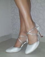 New Free Shipping White Satin Closed Toe Dance Shoe Ballroom Salsa Latin Tango Bachata Dancing Shoes