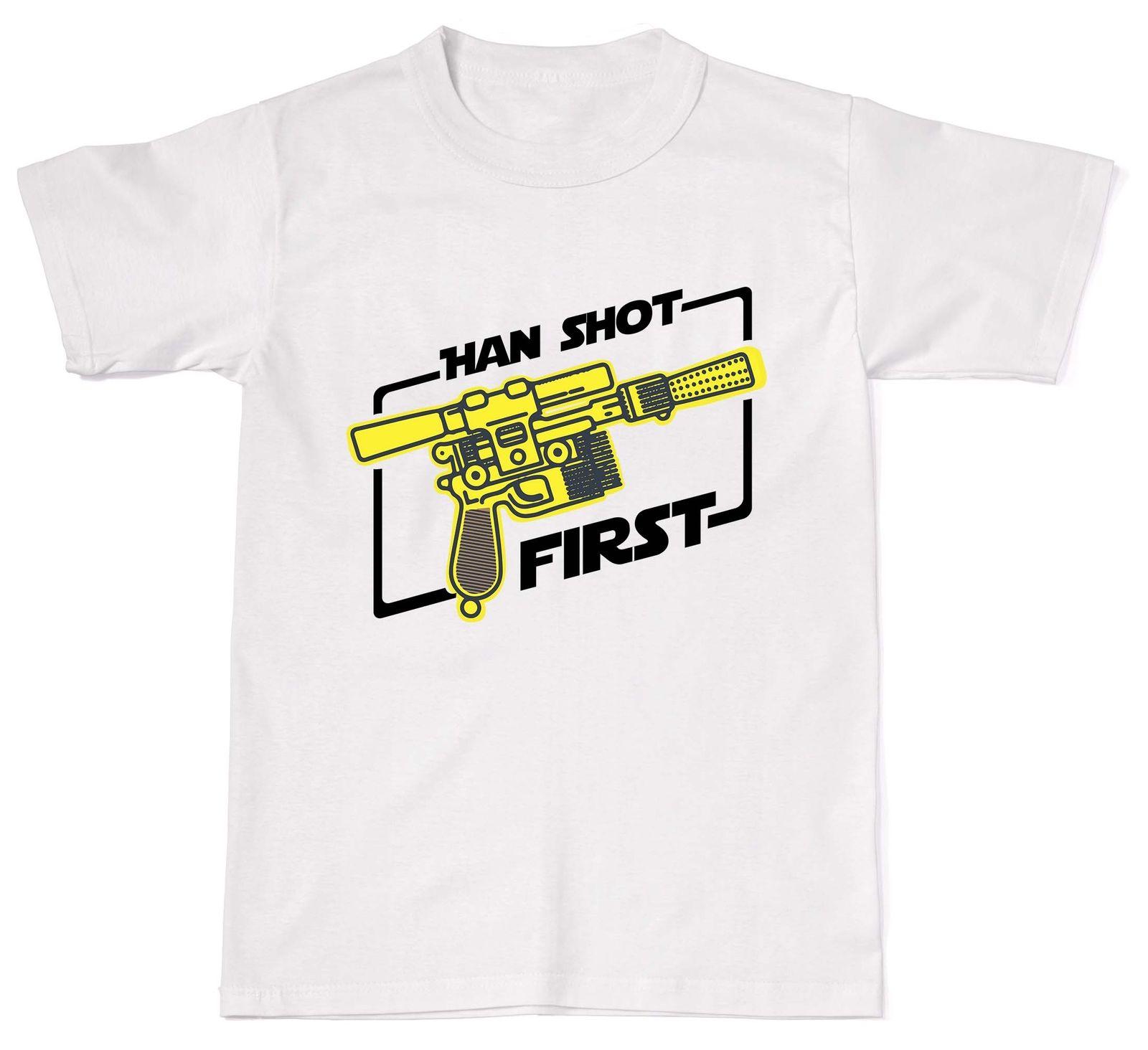 Хлопковые свободные короткий рукав мужские рубашки Хан выстрелил впервые Забавный войны фантастика мастер Nerd Solo унисекс футболка хлопок