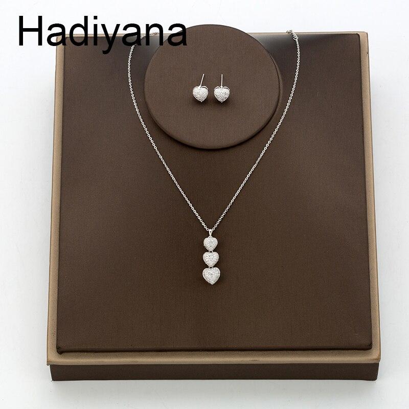 Hadiyana Love Bride AAA Zircon Shiny Jewelry Sets Necklace / Earrings Jewelry Set Party Wedding Gifts TZ8110