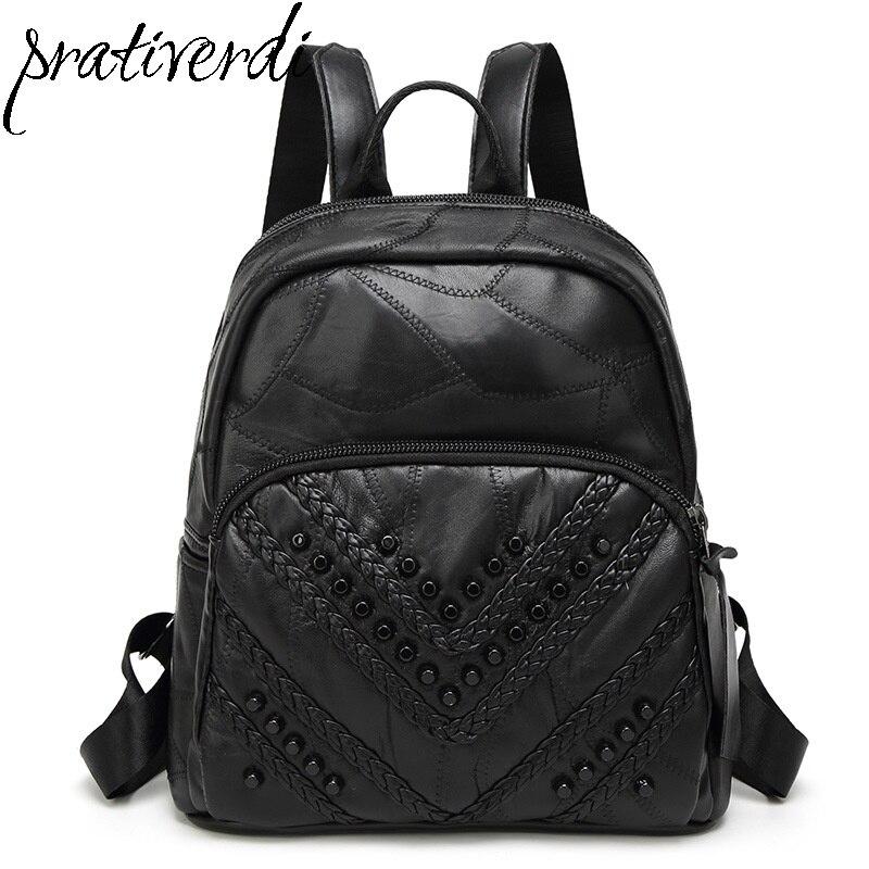 2017 New Women s PU Leather Backpacks High Quality Backbag School Bag for Teenage Girls Bagpack