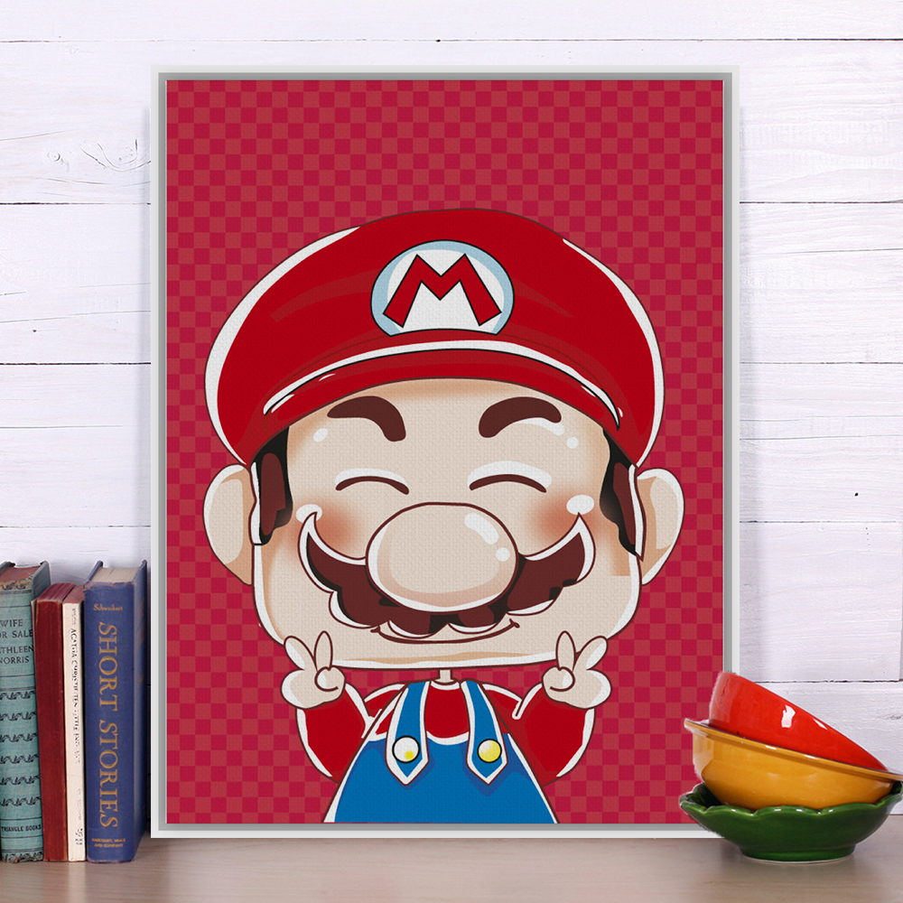 Modern Super Mario Portrait Pop Japanese Anime Game A4 Art Print Poster Hippie Wall Picture Canvas Painting Kids Room Home Decor