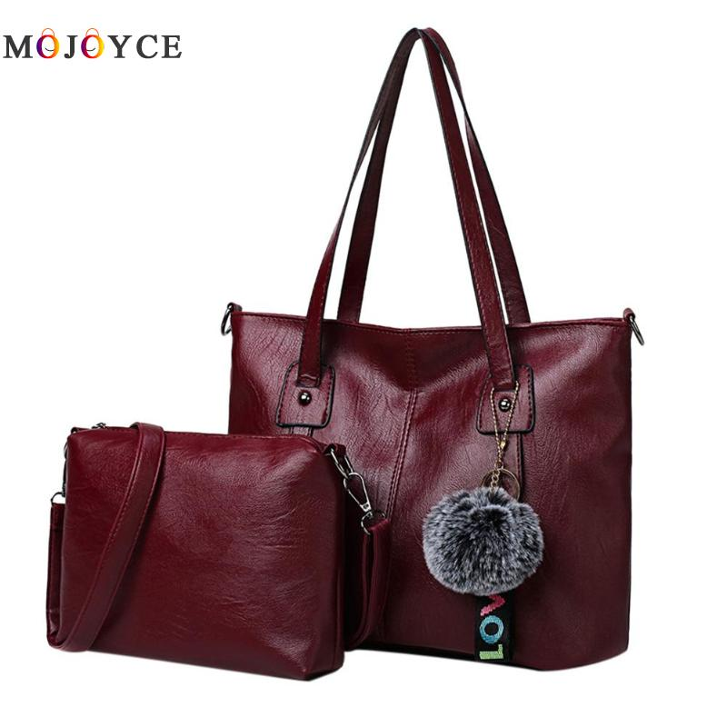 2pcs/set Vintage Women Soft PU Leather Shoulder Bag Composite Ladies Handbags Zipper Totes Bag multifunctional pu leather zipper decor shoulder bag