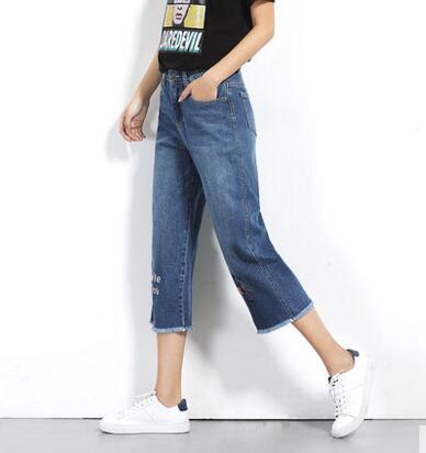 La Taille Nouvelle Femme Broderie Longueur Casual Jeans Plus Lâche Pantalon Bleu Veau Vêtements 5xl Demin Mode 5894 Clair Femmes 4Rtxnq4Sw