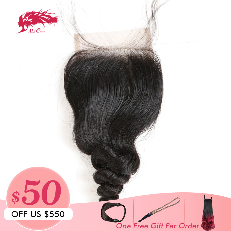 Ali Queen Brazilian Loose Wave Lace Closure Virgin Hair Bundles 4 4 Swiss Lace With 130