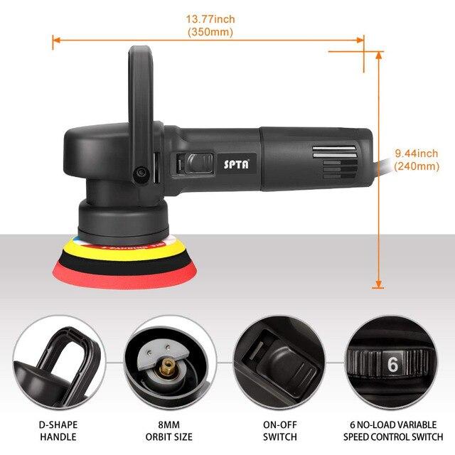 SPTA 8mm Dual Orbital action Auto Car Polishing Machine Car Polisher Buffer Sanding Waxing Roary Power Polish Mini Grinder Tools 1