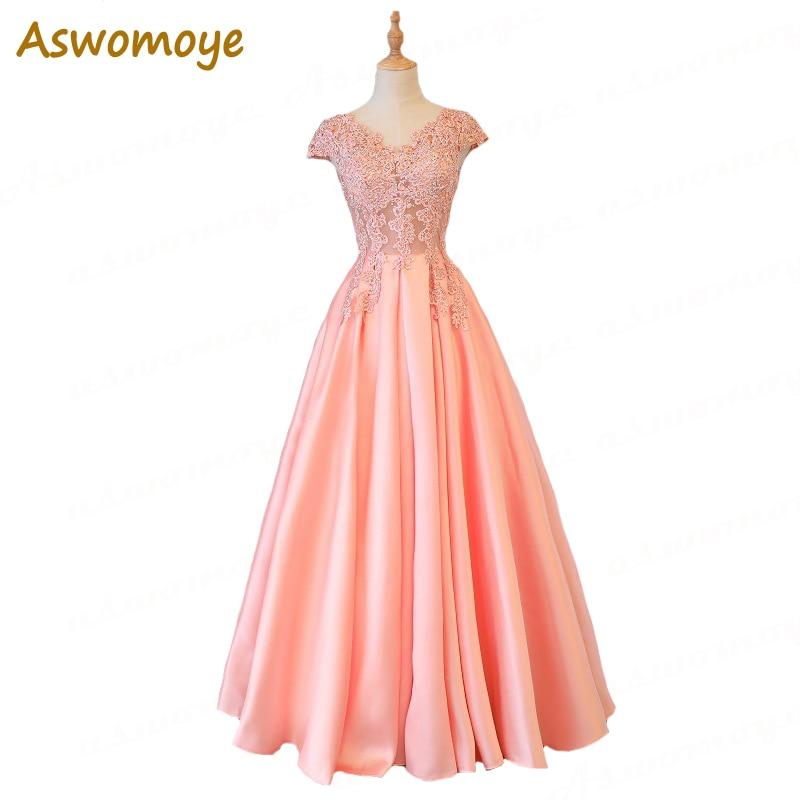 Aswomoye Elegant Women   Evening     Dress   Long 2018 Stylish Appliques Sequins   Evening   Gown Party   Dress   Back Lace Up robe de soiree